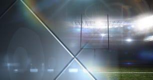 Het effect van de de lichtenovergang van het sportenstadion met geometrische vormen Stock Foto's