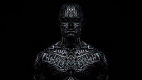 Het effect van de Trippyspiegel, een mens met lichaamskunst die zich in dark bevinden stock videobeelden