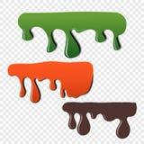 Het effect van de vloeibaarheid van verf op een transparante achtergrond Kleur die vectorelementen voor uw ontwerp druipen royalty-vrije illustratie