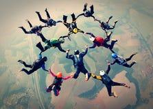Het effect van de het werkfoto van het Skydiversteam stock afbeeldingen
