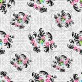 Het effect van het bloemen abstracte naadloze vectorpatroon grunge achtergrond Royalty-vrije Stock Afbeeldingen