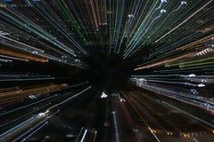 Het effect van het ontploffingsgezoem, lichte lijnen met lange blootstelling Stock Fotografie