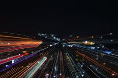 Het effect van het ontploffingsgezoem, lichte lijnen met lange blootstelling Stock Foto's