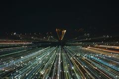 Het effect van het ontploffingsgezoem, lichte lijnen met lange blootstelling Royalty-vrije Stock Foto