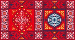 Het Egyptische 2-rood van het Patroon van de Stof van de Tent Royalty-vrije Stock Foto