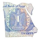 25 het Egyptische omgekeerde van het pondbankbiljet in vorm van Egypte royalty-vrije stock afbeelding