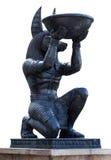 Het Egyptische oude Beeldhouwwerk van kunstanubis stock afbeelding