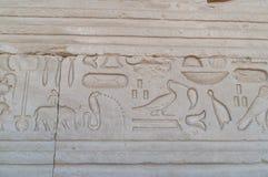 Het Egyptische schrijven op de muur van de tempel in Luxor Stock Fotografie