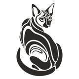 Het Egyptische Zwarte kat gevaarlijke kijken tatoegeringstekening Stock Fotografie