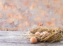 Het ei legt op Netto en houten achtergrond Stock Foto's