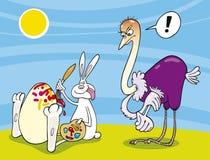 Het ei van de de verfstruisvogel van de paashaas Royalty-vrije Stock Foto