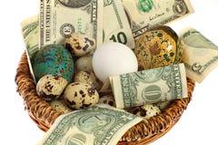 Het ei van het nest in één mand royalty-vrije stock foto's