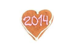 Het eigengemaakte die koekje van 2014 op wit wordt geïsoleerd Royalty-vrije Stock Afbeeldingen