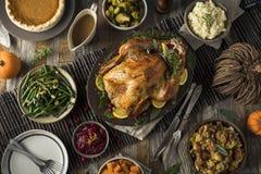 Het eigengemaakte Diner van Dankzeggingsturkije Stock Afbeelding