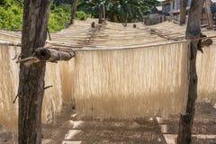 Het eigengemaakte rijstdeegwaren drogen op zon Royalty-vrije Stock Fotografie