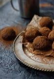 Het eigengemaakte suikergoed van de chocoladetruffel met cacaopoeder Royalty-vrije Stock Fotografie