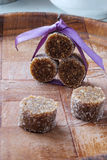 Het eigengemaakte van het de snoepjesportret van de fig.chocolade zijdetail royalty-vrije stock foto