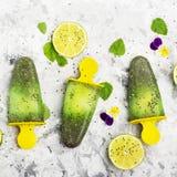 Het eigengemaakte vegetarische van de het fruitcitrusvrucht van de roomijsijslolly de pepermuntsap met chiazaden is verfraaid met Stock Afbeeldingen