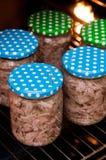 Het eigengemaakte voedsel van het foreshankvlees in kruiken Stock Afbeelding