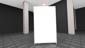 Het eigentijdse binnenland van de baksteenwoonkamer met laag en lege affiche het 3d teruggeven royalty-vrije illustratie