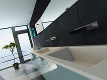 Het eigentijdse binnenland van de ontwerpbadkamers in zwarte kleur stock illustratie