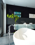 Het eigentijdse binnenland van de ontwerpbadkamers in zwarte kleur vector illustratie