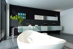 Het eigentijdse binnenland van de ontwerpbadkamers in zwarte kleur royalty-vrije illustratie