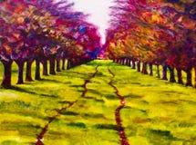 Het eigentijdse schilderen van een weg door een lijn van bomen Royalty-vrije Stock Foto