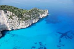 Het eiland blauw overzees van Zakynthos strand Griekenland Stock Foto