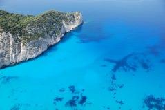 Het eiland blauw overzees van Zakynthos strand Griekenland Royalty-vrije Stock Foto