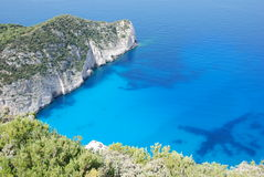 Het eiland blauw overzees van Zakynthos strand Griekenland Royalty-vrije Stock Foto's