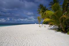 Het eiland de Maldiven van het hotel met aardige palmen. Royalty-vrije Stock Afbeelding