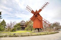 Het Eiland Djurgarden, Stockholm Het museum van Skansen molen royalty-vrije stock foto's