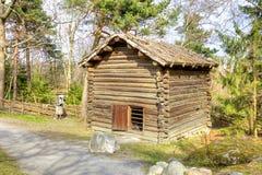Het Eiland Djurgarden, Stockholm Het museum van Skansen schuur stock afbeelding