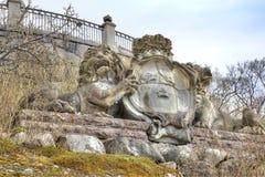 Het Eiland Djurgarden, Stockholm Het museum van Skansen Wapenschild royalty-vrije stock afbeelding