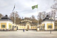 Het Eiland Djurgarden, Stockholm Ingang aan het park Skanse stock afbeelding