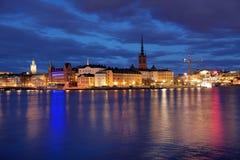 Het eiland en Gamla Stan van Riddarholmen in Stockholm Stock Afbeeldingen