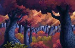 Het eiland heeft een gebied van bos en natuurlijk Stock Illustratie