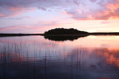 Het eiland in het meer Stock Foto