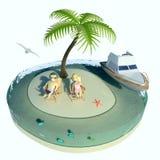 Het eiland, het paar en het schip van de woestijn Stock Foto's