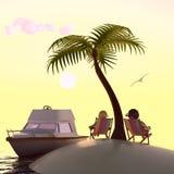 Het eiland, het paar en het schip van de woestijn Royalty-vrije Stock Foto