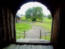 Het Eiland Kizhi in meer Onega wordt gevestigd dat Republiek Kareli? De bouw van de kerk De lijst van de werelderfenis royalty-vrije stock fotografie