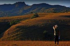 Het eiland en de draak van Komodo in nationaal park Royalty-vrije Stock Foto