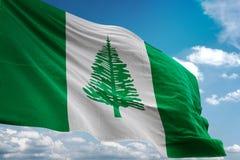 Het Eiland nationale vlag die van Norfolk blauwe hemel realistische 3d illustratie golven als achtergrond royalty-vrije illustratie