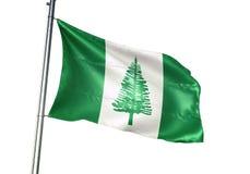 Het Eiland het nationale vlag van Norfolk golven geïsoleerd op witte realistische 3d illustratie als achtergrond royalty-vrije illustratie
