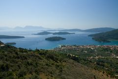 Het Eiland Nydri van Lefkada Griekenland Skorpios Madouri Skorpidi Stock Foto