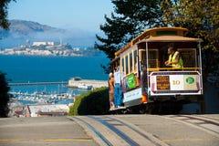 Het Eiland van Alcatraz van de Kabelwagen van San Francisco Stock Afbeelding