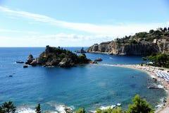 Het eiland van Bella van Isola in Taormina Sicilië Stock Afbeelding