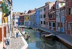 Het eiland van Burano - Venetië stock foto's
