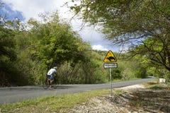Het eiland van de Caraïbische, Franse Antillen, Guadeloupe, mening van een kustweg stock fotografie